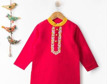 Indigo Geometric Print Short Kurta  Diwali Dress for Boys  Indian Wear Boys  Ethnic Wear Boys  Traditonal Indian Wear Boys