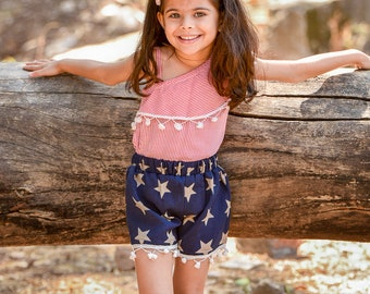 a16f7f5ad 4th July Dres / Memorial Day Dress / Patriotic Dress / Summer Dress for  Girls - One Shoulder Red Top with Navy Blue Shorts