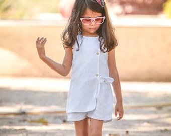 15d64f5e6 Summer Dress for Girls / Summer Dress for kids - White Summer Wrap Romper  Dress