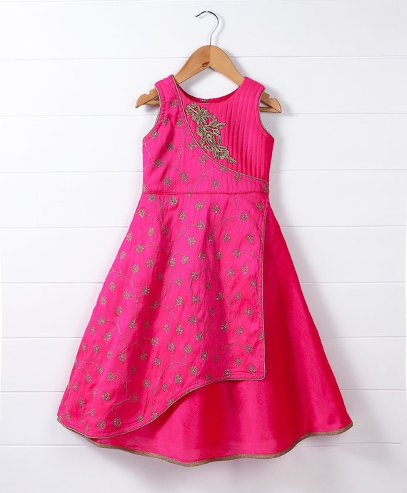 Ethnic Gown , Pink/ Indian Gown for Kids/ Indo Western Dress / Birthay  Dress / Party Dress