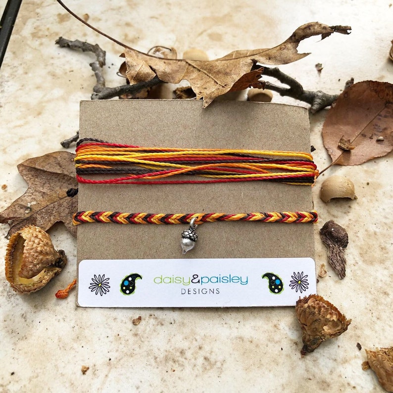 Orange String Bracelets Fall Waterproof, Autumn Red Wax Cord Bracelets Brown Thanksgiving Inspired Friendship Bracelets Yellow