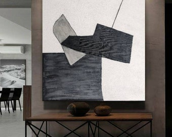 Large abstract black and white minimalist painting mid century modern painting  textured painting on canvas wall hanging
