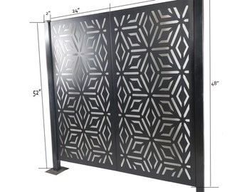 Metal Privacy Screen, Laser Cut Decorative Steel Privacy Panel Metal Fencing, Galvanized Steel Universal Fence Post