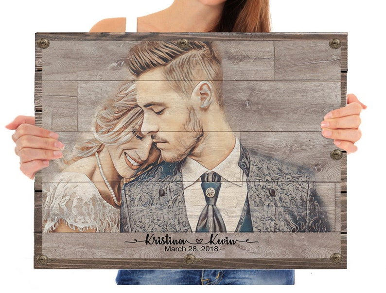 Pallet Sign Wedding Photo Wood Wall Art Anniversary Husband image 0