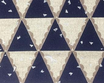 7/8 yd Kokka ECHINO -  TENT - Navy + Metallic Japanese Linen Canvas Fabric  Natural/Blue Cotton Linen Canvas