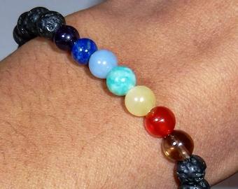Chakra Bead Bracelet with black onyx or lava Rock 6mm