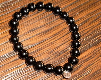 Grade AAA Black Onyx bead Bracelet 8mm & 6mm with sterling silver or gold plated tag