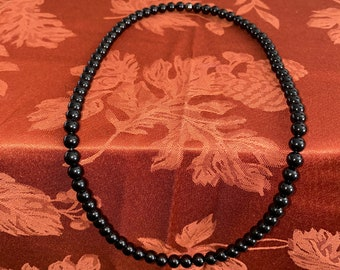 Black Onyx 6mm Bead Necklace (Grade AAA)