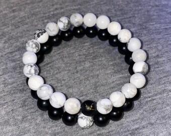 Black Onyx & Howlite Set 6mm or 8mm Beads