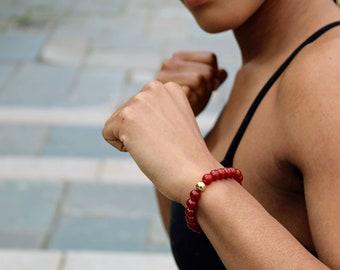 Red Carnelian Bead Bracelet 6mm or 8mm w/steel knot cover