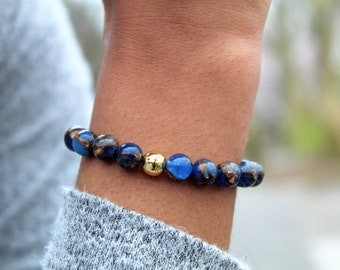 Blue Cobalt Opal w/Bronzite Marbled Quartz 6mm & 8mm Bracelet with Gold Knot Cover
