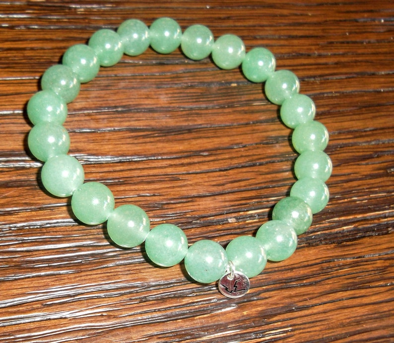 Grade A Green Aventurine bead Bracelet 8mm with sterling image 0