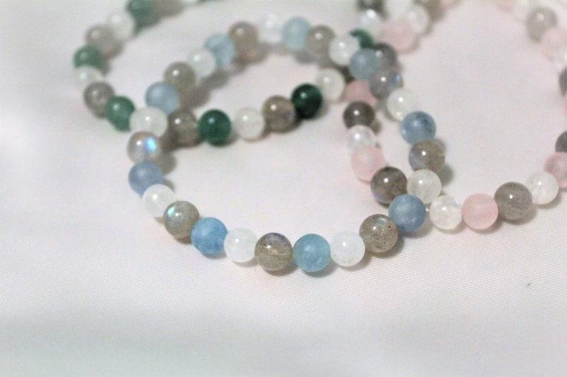 Tri-color Bracelet Labradorite Moonstone Aquamarine Matte image 0