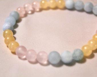 Happiness Bracelet- Aquamarine, Rose Quartz, Yellow Calcite