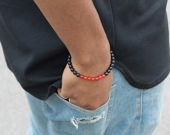 Red Carnelian and Black Oynx Bead Bracelet with 6mm or 8mm w/Stainless Steel or Onyx Knot Cover
