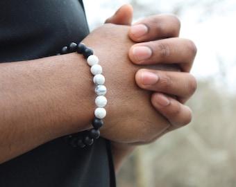 Howlite and Black Onyx Bead Bracelet 8mm