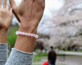 Grade A Rose Quartz 6mm or 8mm bead bracelet Rose Gold Plated Brass Knot Cover