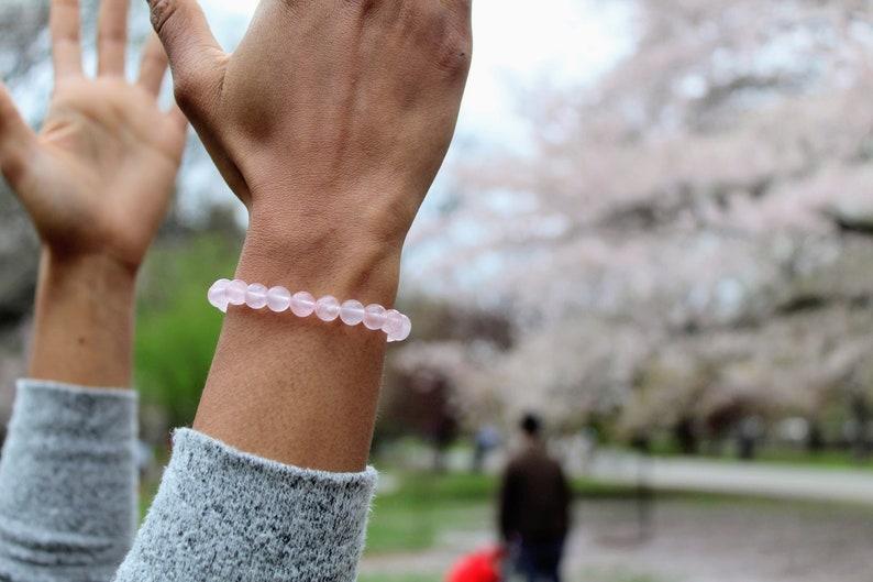 Grade A Rose Quartz 6mm or 8mm bead bracelet Rose Gold Plated image 0