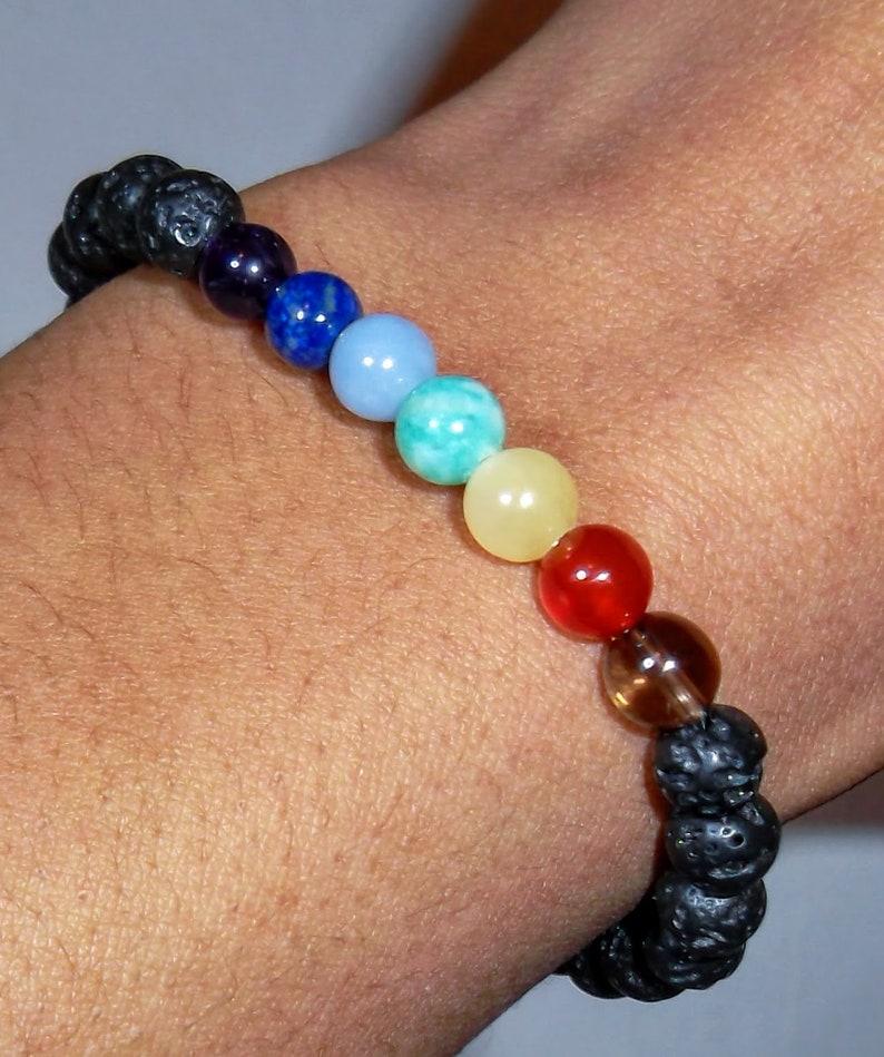 Chakra Bead Bracelet with black onyx or lava Rock 6mm image 0