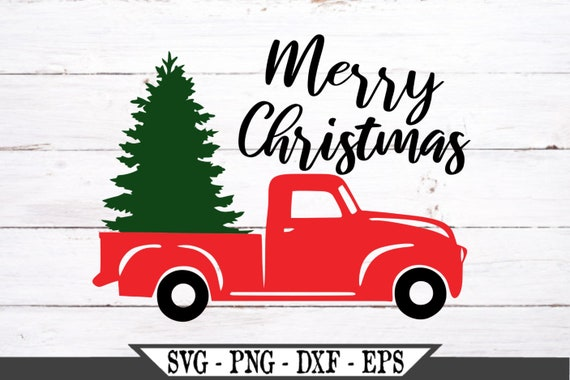 Cricut Cut Files, Merry Christmas Red Truck With Tree SVG PNG Cut File Silhouette Vector File Cuttable Designs