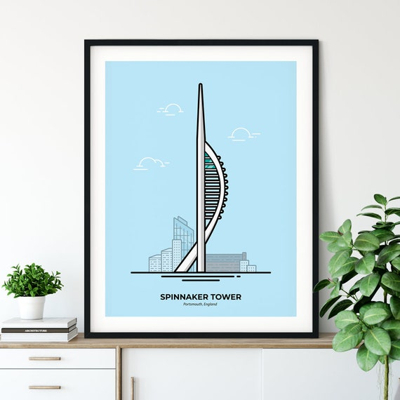 Poster print city of Portsmouth waterfront spinnaker tower wall Poster A1 Poster