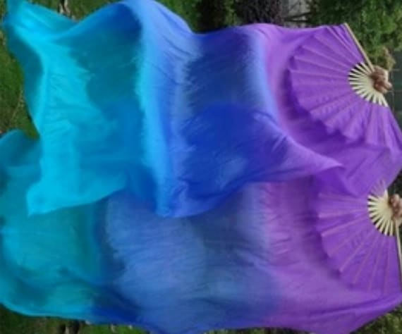 Silk Fan Veils Belly Dance 100/% Silk  ** Free Case **