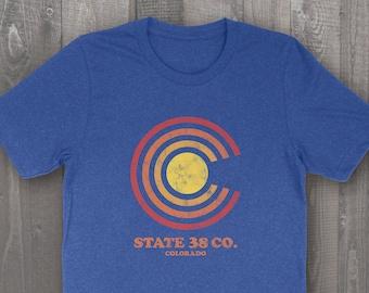 Retro Colorado State 38 T-Shirt, Heather Royal Blue Unisex