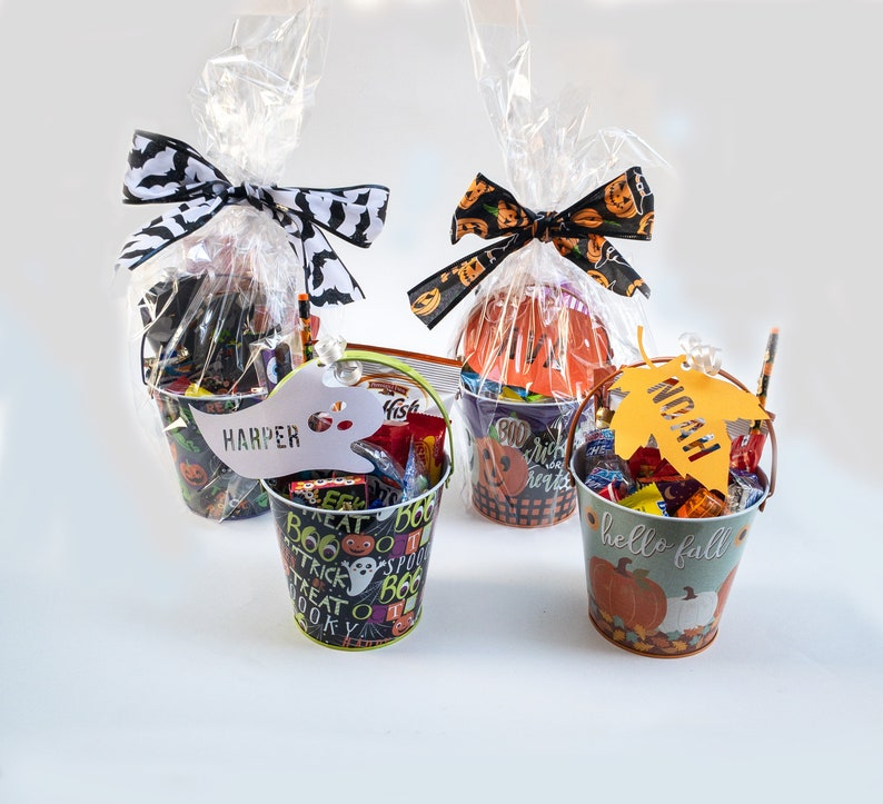 Filled Personalized Halloween Buckets
