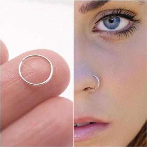 Sterling Silver Nose Ring Small Hoops Earrings Helix Etsy