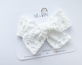 White Eyelet Hair Bow, Hair Bows for Girls, Lace Baby Headbands, Gifts for Girls, Baby Gift, Hair clips, Lace Hair Bow, Embroidered Bow,