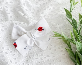 Ladybug Hair Bow, Hair Bows for Girls, Headbands for Baby, Gifts for girls, Hair clips, Schoolgirl Bow, Tied Bow, Summer Bow