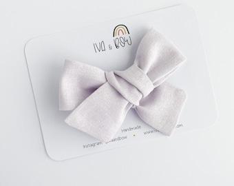 Lavender Linen Hair Bow