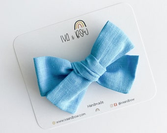 Summer Teal Hair Bow, Hair Bows for Girls, Headbands for Baby, Gifts for girls, Hair clips, Schoolgirl Bow, Tied Bow, Summer Bow