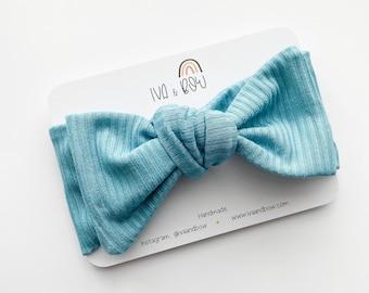Aqua Bamboo Ribbed Girl Knotted Headband, Baby Headband, Head wrap for girls, Bow Head wraps, Baby Girl gift, Headband with Bow, Girl Gift