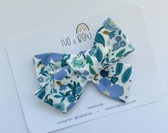 Rifle Paper Co Wild Rose in Blue Hair Bow, Girls Hair Bows, Baby Headbands, Girls Gift, Hair clips, Girl Hair Clips