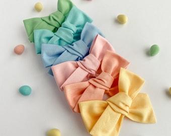 Spring SET OF 3 Hair Bows, Hair Bows for Girls, Pastel Hair Bows, Baby Headbands, Gift for girls, Hair clips, Bows Set