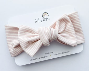 Striped Pink Girl Knotted Headband, Baby Headband, Head wrap for girls, Bow Head wraps, Baby Girl Hair Bows, Headband with Bow
