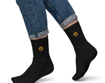 8bit Joystick Embroidered socks