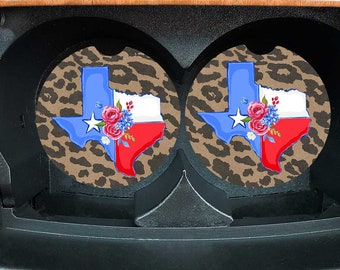 Texas Car Coasters - Set of 2 Leopard State of Texas