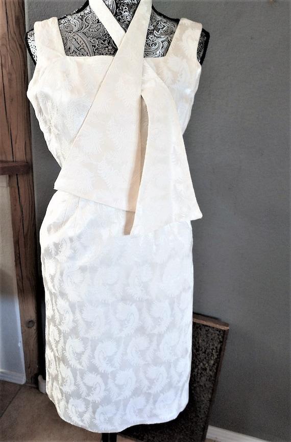 Vintage 1950s Jerry Gilden White Dress Pockets Tie