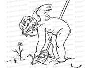 Vintage Edwardian Gardening Cupid  | Valentine's Day Cupid Digging in Garden Vector Clipart | Romantic SVG PNG JPG