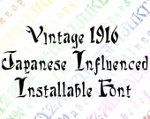 Vintage Japanese Influenced Installable Font  | Antique Art Deco Era Uppercase, Lowercase Letters, Numbers, Lettering OTF TTF