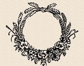 Vintage Grass and Floral Wreath Border | Antique Victorian Round Frame with Grasses and Flowers | Vector Instant Download SVG PNG JPG