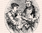 Victorian Vaccination Clipart | Vintage Antique Vaccinating the Baby | Infant, Mother, Doctor | Medical Vector Clip Art SVG PNG JPG