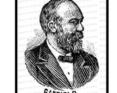 Digital President James A. Garfield Victorian Portrait |  Antique United States Presidential Vector Clipart | Instant Download