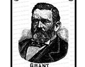 Digital President Ulysses S. Grant Victorian Portrait    Antique United States Presidential Vector Clipart   Instant Download