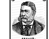 Digital President Chester A. Arthur Victorian Portrait |  Antique United States Presidential Vector Clipart | Instant Download