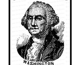 Digital President George Washington Victorian Portrait    Antique United States Presidential Vector Clipart   Instant Download