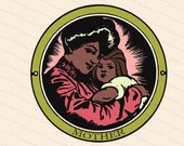 Digital Vintage Edwardian Mother and Child | Color Vector Clipart Instant Download SVG PNG JPG