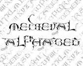 Vintage Medieval Ornamental Capitals Alphabet Vector Clipart  | Vintage Late Middle Ages Uppercase Letters, Calligraphy SVG PNG